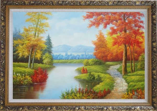 Framed Gorgeous Riverside Scenery in Golden Autumn Oil Painting Landscape Tree Naturalism Ornate Antique Dark Gold Wood Frame 30 x 42 Inches