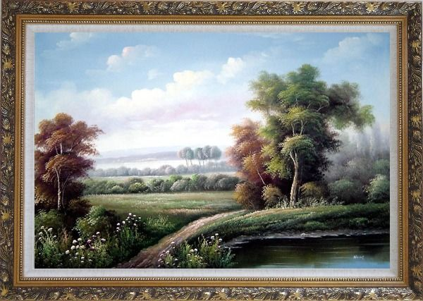 Framed Walkway by Wild Pond Oil Painting Landscape River Classic Ornate Antique Dark Gold Wood Frame 30 x 42 Inches