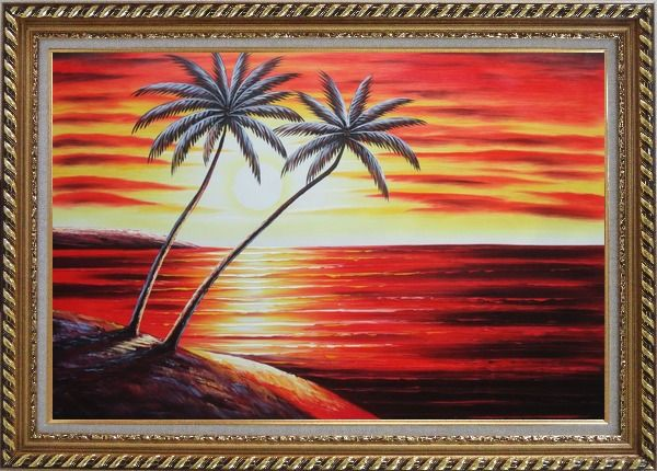 Framed Coastal Palm Trees at Sunset in Hawaii Oil Painting Seascape America Naturalism Exquisite Gold Wood Frame 30 x 42 Inches