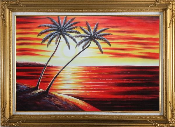 Framed Coastal Palm Trees at Sunset in Hawaii Oil Painting Seascape America Naturalism Gold Wood Frame with Deco Corners 31 x 43 Inches