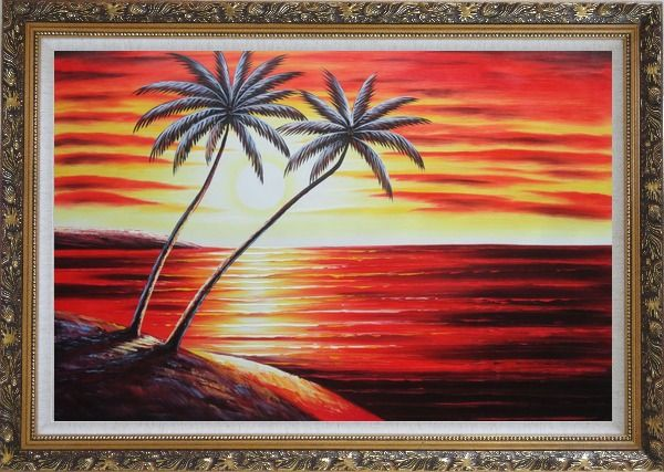 Framed Coastal Palm Trees at Sunset in Hawaii Oil Painting Seascape America Naturalism Ornate Antique Dark Gold Wood Frame 30 x 42 Inches