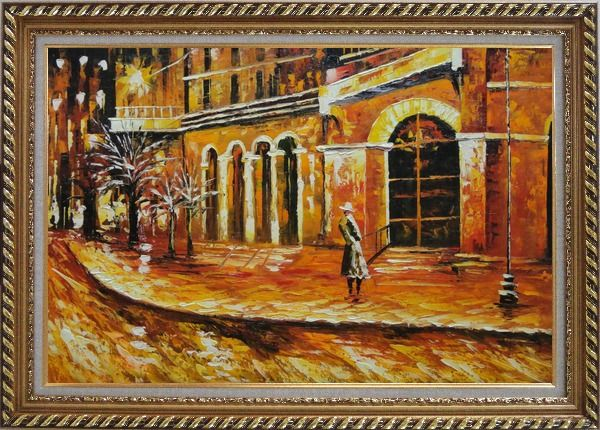 Framed At the Hall Gate Oil Painting Cityscape Modern Exquisite Gold Wood Frame 30 x 42 Inches