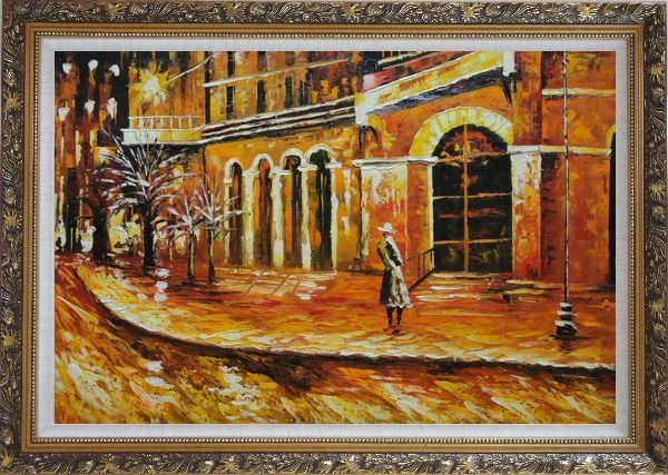 Framed At the Hall Gate Oil Painting Cityscape Modern Ornate Antique Dark Gold Wood Frame 30 x 42 Inches