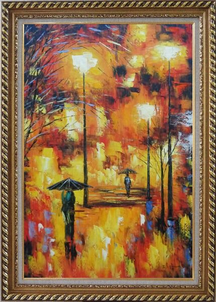 Framed Walking On Rainy Day Street at Night Oil Painting Cityscape Modern Exquisite Gold Wood Frame 42 x 30 Inches