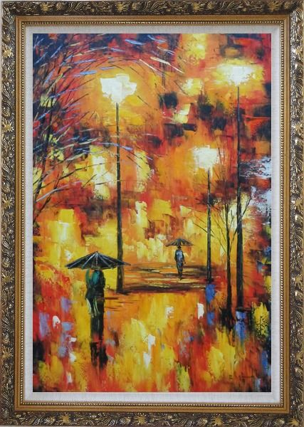 Framed Walking On Rainy Day Street at Night Oil Painting Cityscape Modern Ornate Antique Dark Gold Wood Frame 42 x 30 Inches
