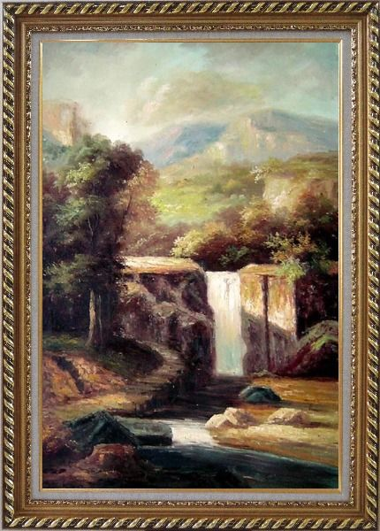 Framed Little Spillway Oil Painting Landscape River Classic Exquisite Gold Wood Frame 42 x 30 Inches