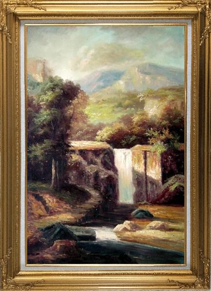 Framed Little Spillway Oil Painting Landscape River Classic Gold Wood Frame with Deco Corners 43 x 31 Inches