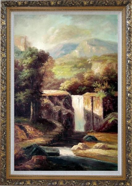 Framed Little Spillway Oil Painting Landscape River Classic Ornate Antique Dark Gold Wood Frame 42 x 30 Inches