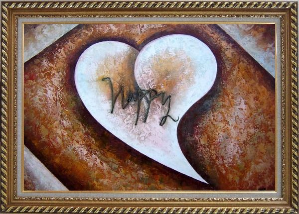 Framed Happy with Love Oil Painting Nonobjective Modern Exquisite Gold Wood Frame 30 x 42 Inches