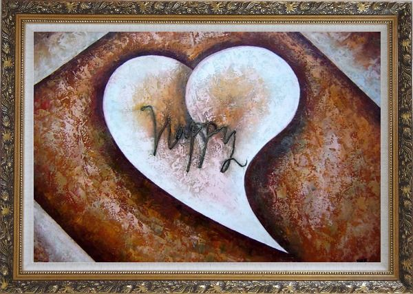 Framed Happy with Love Oil Painting Nonobjective Modern Ornate Antique Dark Gold Wood Frame 30 x 42 Inches