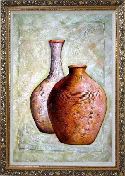 Framed Two Brown Jars Oil Painting Still Life Modern Ornate Antique Dark Gold Wood Frame 42 x 30 Inches