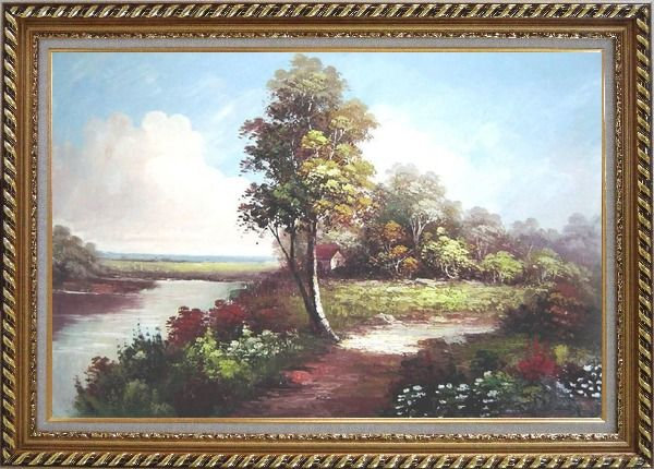 Framed Along the River Oil Painting Landscape Naturalism Exquisite Gold Wood Frame 30 x 42 Inches