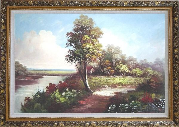 Framed Along the River Oil Painting Landscape Naturalism Ornate Antique Dark Gold Wood Frame 30 x 42 Inches