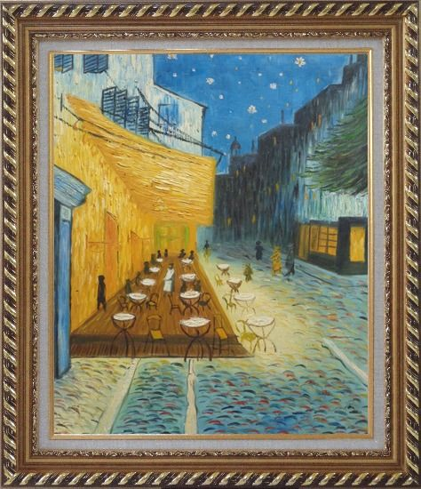 Framed Cafe Terrace At Night, Van Gogh Masterpiece Oil Painting Cityscape France Post Impressionism Exquisite Gold Wood Frame 30 x 26 Inches