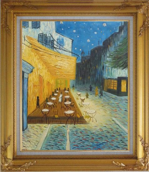 Framed Cafe Terrace At Night, Van Gogh Masterpiece Oil Painting Cityscape France Post Impressionism Gold Wood Frame with Deco Corners 31 x 27 Inches