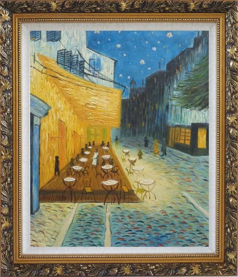 Framed Cafe Terrace At Night, Van Gogh Masterpiece Oil Painting Cityscape France Post Impressionism Ornate Antique Dark Gold Wood Frame 30 x 26 Inches