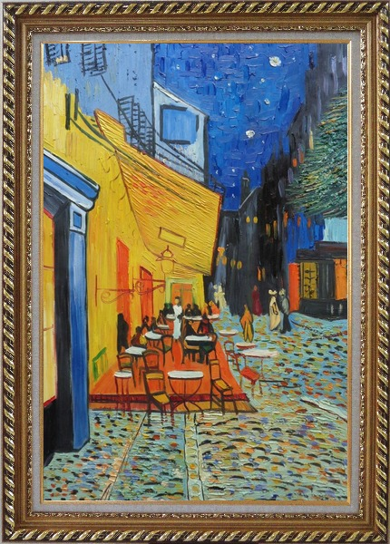 Framed Cafe Terrace At Night, Van Gogh Masterpiece Oil Painting Cityscape France Post Impressionism Exquisite Gold Wood Frame 42 x 30 Inches