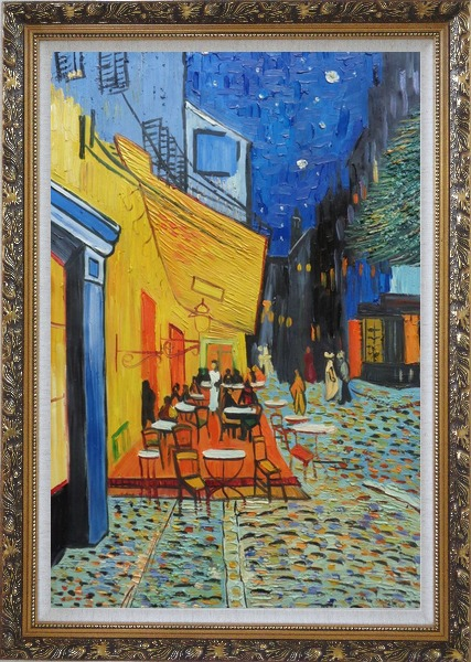 Framed Cafe Terrace At Night, Van Gogh Masterpiece Oil Painting Cityscape France Post Impressionism Ornate Antique Dark Gold Wood Frame 42 x 30 Inches