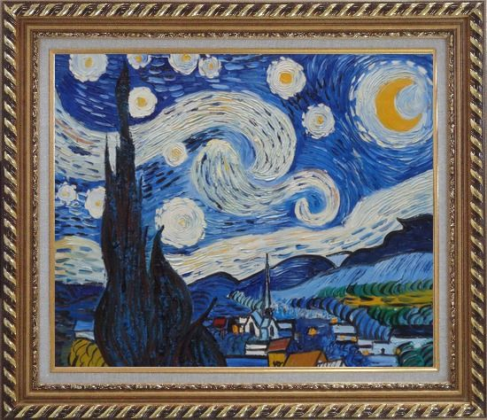 Framed The Starry Night, Van Gogh Reproduction Oil Painting Landscape Post Impressionism Exquisite Gold Wood Frame 26 x 30 Inches