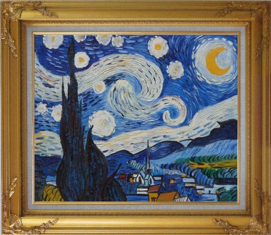 Framed The Starry Night, Van Gogh Reproduction Oil Painting Landscape Post Impressionism Gold Wood Frame with Deco Corners 27 x 31 Inches