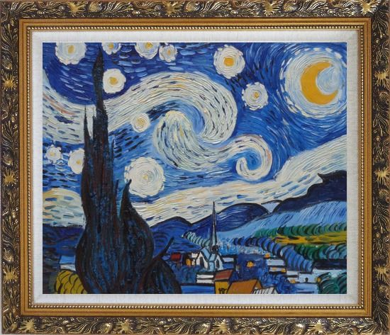 Framed The Starry Night, Van Gogh Reproduction Oil Painting Landscape Post Impressionism Ornate Antique Dark Gold Wood Frame 26 x 30 Inches