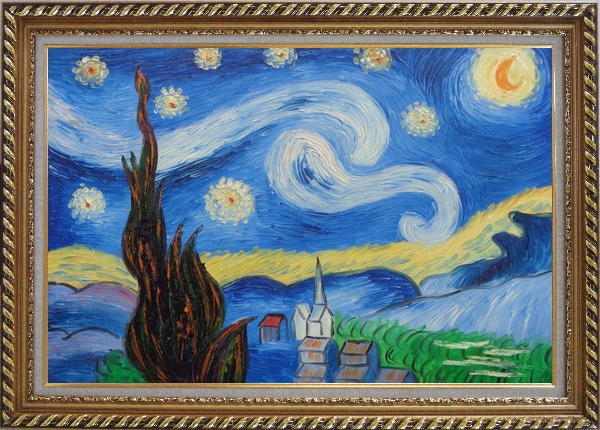 Framed The Starry Night, Van Gogh Reproduction Oil Painting Landscape Post Impressionism Exquisite Gold Wood Frame 30 x 42 Inches