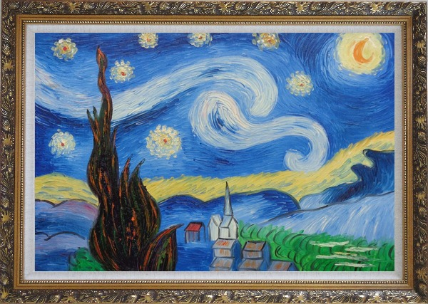 Framed The Starry Night, Van Gogh Reproduction Oil Painting Landscape Post Impressionism Ornate Antique Dark Gold Wood Frame 30 x 42 Inches