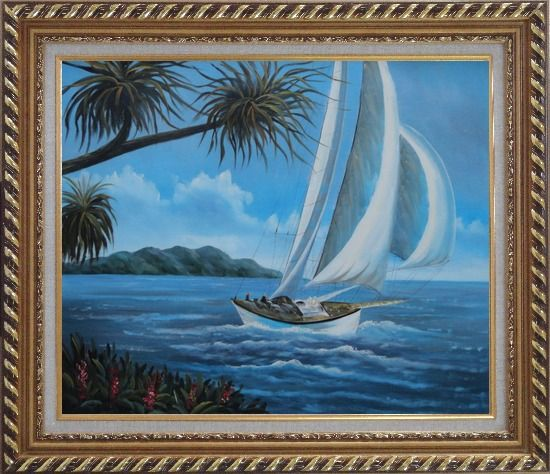 Framed Sailing near Coast with Palm Trees Oil Painting Boat Boating Naturalism Exquisite Gold Wood Frame 26 x 30 Inches