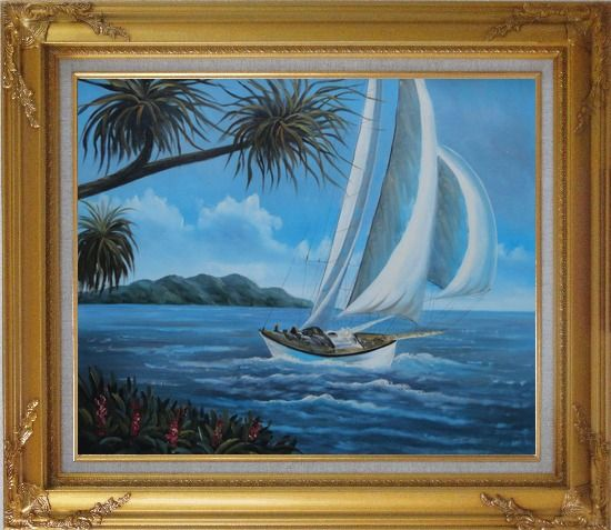 Framed Sailing near Coast with Palm Trees Oil Painting Boat Boating Naturalism Gold Wood Frame with Deco Corners 27 x 31 Inches
