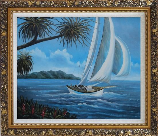 Framed Sailing near Coast with Palm Trees Oil Painting Boat Boating Naturalism Ornate Antique Dark Gold Wood Frame 26 x 30 Inches