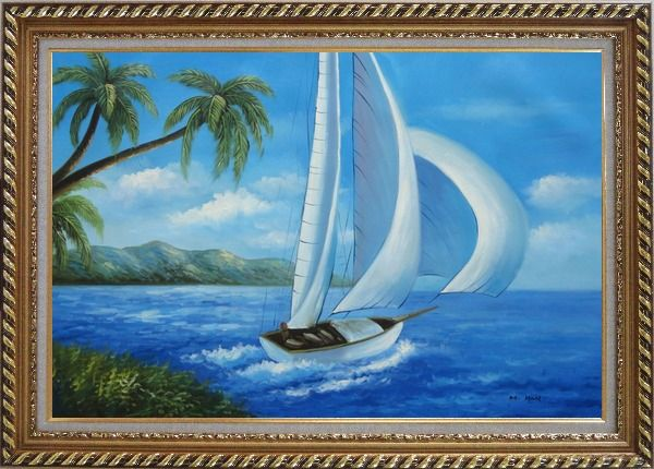 Framed Sailing near Coast with Palm Trees Oil Painting Boat Boating Naturalism Exquisite Gold Wood Frame 30 x 42 Inches
