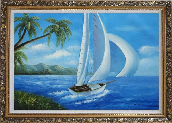 Framed Sailing near Coast with Palm Trees Oil Painting Boat Boating Naturalism Ornate Antique Dark Gold Wood Frame 30 x 42 Inches