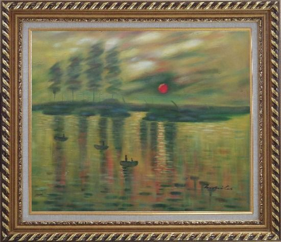 Framed Impression Sunrise, Claude Monet Reproduction Oil Painting Seascape France Impressionism Exquisite Gold Wood Frame 26 x 30 Inches