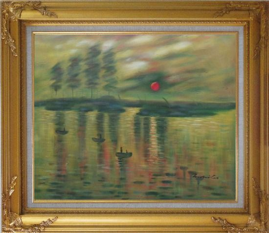 Framed Impression Sunrise, Claude Monet Reproduction Oil Painting Seascape France Impressionism Gold Wood Frame with Deco Corners 27 x 31 Inches