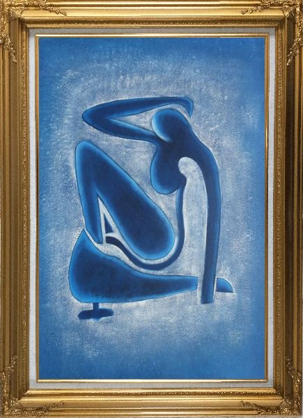 Framed Blue Nude, Matisse Modern Oil Painting Portraits Woman Fauvism Gold Wood Frame with Deco Corners 43 x 31 Inches