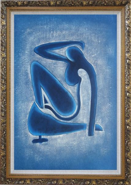 Framed Blue Nude, Matisse Modern Oil Painting Portraits Woman Fauvism Ornate Antique Dark Gold Wood Frame 42 x 30 Inches