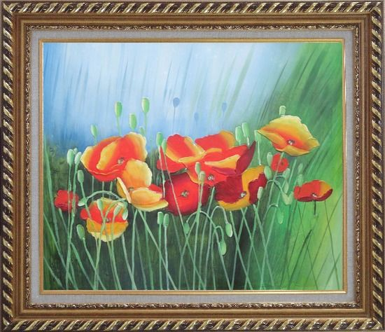 Framed Meadow Dance Oil Painting Flower Modern Exquisite Gold Wood Frame 26 x 30 Inches
