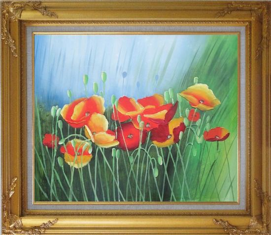 Framed Meadow Dance Oil Painting Flower Modern Gold Wood Frame with Deco Corners 27 x 31 Inches