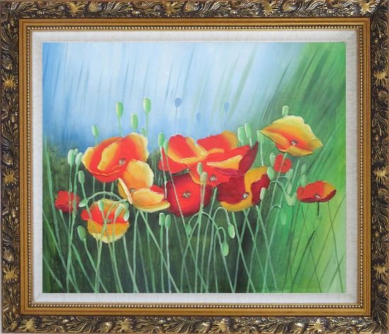 Framed Meadow Dance Oil Painting Flower Modern Ornate Antique Dark Gold Wood Frame 26 x 30 Inches