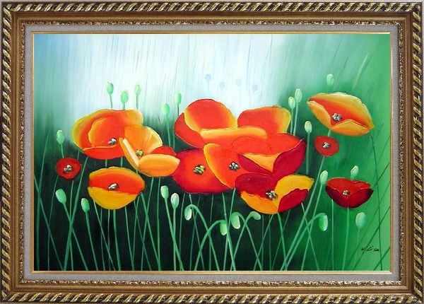 Framed Meadow Dance Oil Painting Flower Modern Exquisite Gold Wood Frame 30 x 42 Inches