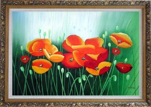 Framed Meadow Dance Oil Painting Flower Modern Ornate Antique Dark Gold Wood Frame 30 x 42 Inches