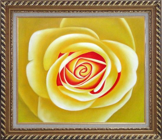 Framed Yellow Rose Oil Painting Flower Naturalism Exquisite Gold Wood Frame 26 x 30 Inches