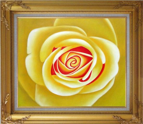 Framed Yellow Rose Oil Painting Flower Naturalism Gold Wood Frame with Deco Corners 27 x 31 Inches