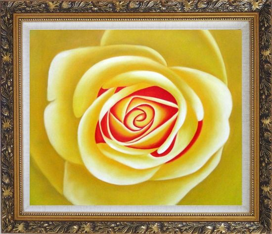 Framed Yellow Rose Oil Painting Flower Naturalism Ornate Antique Dark Gold Wood Frame 26 x 30 Inches