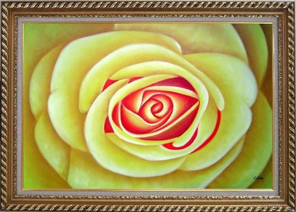 Framed Yellow Rose Oil Painting Flower Naturalism Exquisite Gold Wood Frame 30 x 42 Inches
