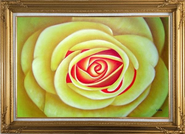 Framed Yellow Rose Oil Painting Flower Naturalism Gold Wood Frame with Deco Corners 31 x 43 Inches