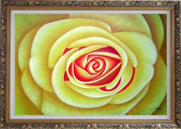 Framed Yellow Rose Oil Painting Flower Naturalism Ornate Antique Dark Gold Wood Frame 30 x 42 Inches