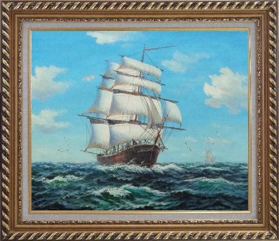Framed Big Fully Rigged Masted Ship Sailing on the Ocean Oil Painting Boat Classic Exquisite Gold Wood Frame 26 x 30 Inches