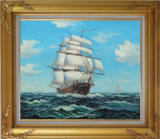 Framed Big Fully Rigged Masted Ship Sailing on the Ocean Oil Painting Boat Classic Gold Wood Frame with Deco Corners 27 x 31 Inches