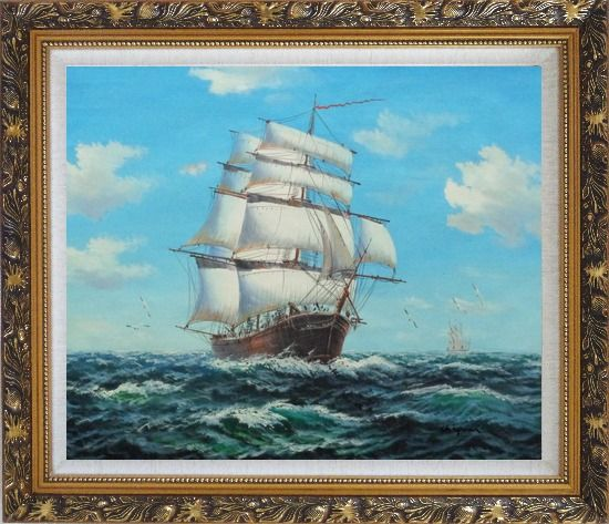 Framed Big Fully Rigged Masted Ship Sailing on the Ocean Oil Painting Boat Classic Ornate Antique Dark Gold Wood Frame 26 x 30 Inches